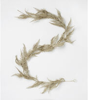 Blooming Holiday Christmas 66'' Glitter Spiked Fern Garland-Champagne, , hi-res