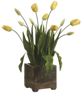 Bloom Room Luxe 29'' Tulip In Cement Pot-Yellow