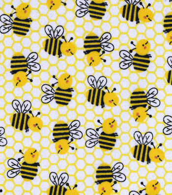 "Snuggle Flannel Fabric 42""-Honeycomb Bee"