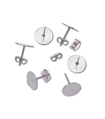 Darice 10mm Flat Pad Butterfly Earrings-48PK/Silver