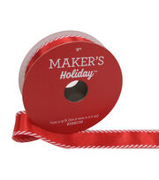 Maker's Holiday Christmas Satin Ribbon 7/8''x9'-Red with Candy Edge, , hi-res