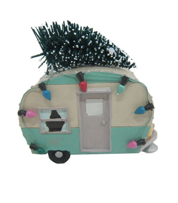 Maker's Holiday Christmas Littles Resin Camper with Sisal Tree