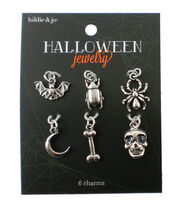 hildie & jo™ Halloween 6 Pack 1.25''x1.25'' Silver Charms, , hi-res
