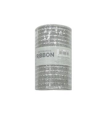 "Decorative Ribbon 5.5""x10yd Metallic Deco Mesh-Silver"