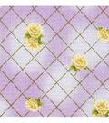 Keepsake Calico™ Cotton Fabric-Floral Purple w/Gold Metallic