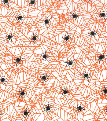 Holiday Showcase™ Halloween Cotton Fabric 43''-Spider Web on White