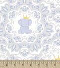 Nursery Royal Cotton Fabric 43\u0027\u0027-Elephant & Scroll Print