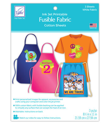 Inkjet Printable Fusible Fabric - 3 sheets per pack
