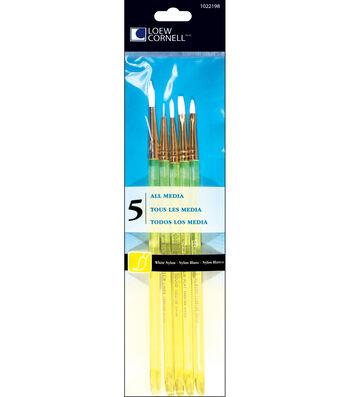 White Nylon Craft Brush Set-5/Pk