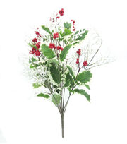 Blooming Holiday Christmas 20'' Holly Leaves & Berry Spray-Green & White, , hi-res