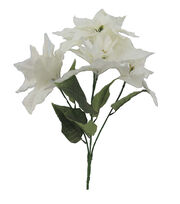 Blooming Holiday Christmas 21'' Poinsettia Spray-White, , hi-res