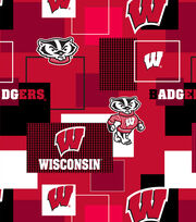 University of Wisconsin Badgers Cotton Fabric 43''-Modern Block, , hi-res
