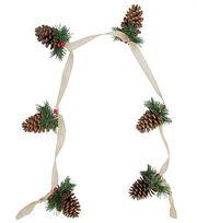 Blooming Holiday Christmas 66'' Pinecones on Burlap Garland, , hi-res