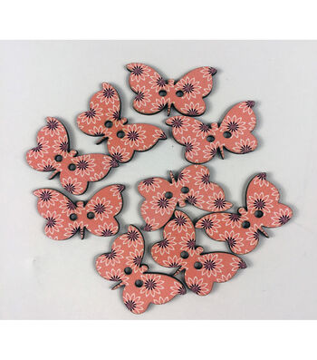 """Organic Elements Wood Buttons 1.25""""-Peachy Butterfly"""
