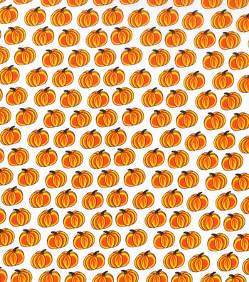 "Holiday Showcase™ Harvest Cotton Fabric 43""-Orange Pumpkins On Cream"