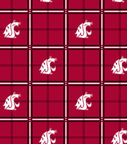 "Washington State University Cougars Flannel Fabric 42""-Plaid, , hi-res"