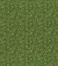Keepsake Calico Holiday Cotton Fabric 43\u0022-Green Metallic Scrolls