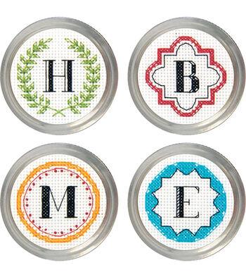 Monogram Jar Topper Counted Cross Stitch Kit-Set Of 4