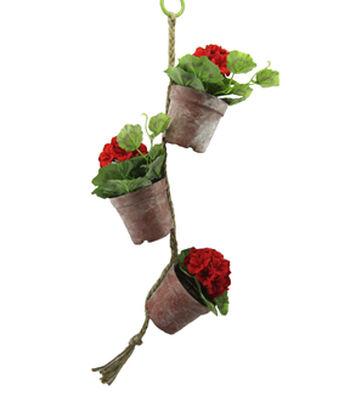 Blooming Spring 28'' Geranium Hanging Pot-Red