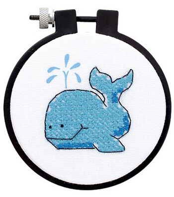 Dimensions Learn-A-Craft The Whale Stmpd 3x3 X-Stitch Kit