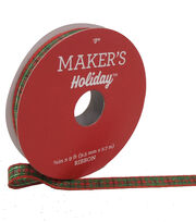 Maker's Holiday Christmas Ribbon 3/8''x9'-Red, Green & Gold Plaid, , hi-res