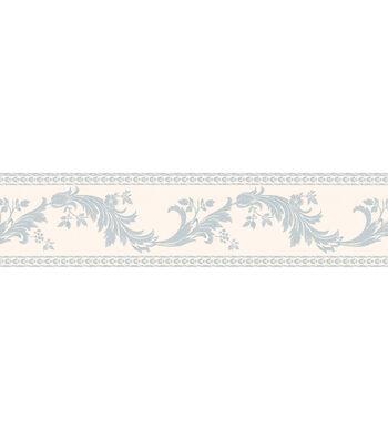 Scroll Silhouette Wallpaper Border, Blue
