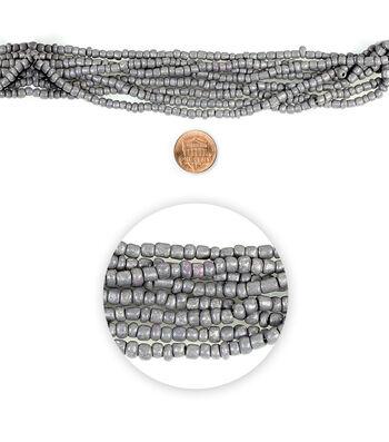 "Blue Moon Beads 14"" Strand Glass Seed Bead Muted Dark Grey"