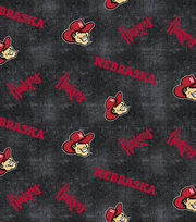 "University of Nebraska Cornhuskers Flannel Fabric 42""-Distressed Logo, , hi-res"