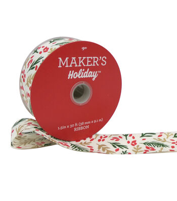Maker's Holiday Christmas Ribbon 1.5''x30' -Green, Gold & Red Leaves