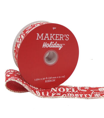 Maker's Holiday Christmas Ribbon 1.5''X30'-White Sentiments on Red