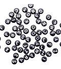 Alphabet Beads 7mm 150/Pkg-Black Round