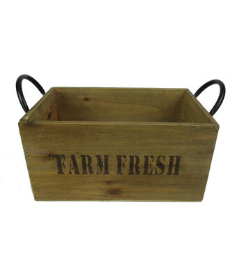 Farm Storage Large Wood Box with Metal Handle-Farm Fresh