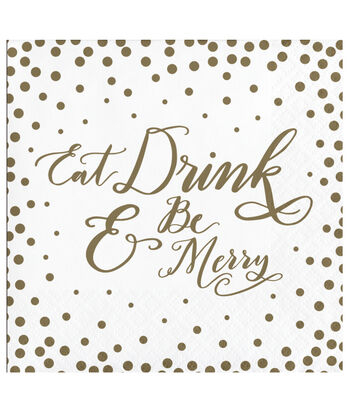 Maker's Holiday Christmas 20 pk Beverage Napkins-Eat Drink & Be Merry