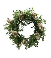 Blooming Holiday Christmas 12'' Eucalyptus & Berry Wreath-Champagne, , hi-res