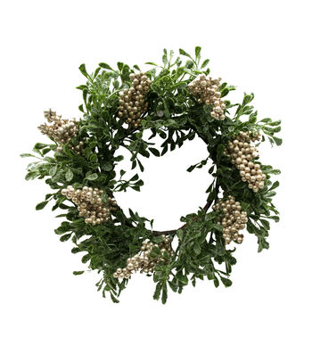 Blooming Holiday Christmas 12'' Eucalyptus & Berry Wreath-Champagne