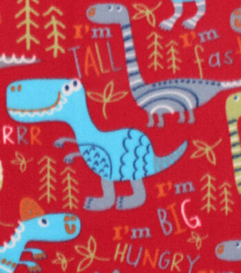 "Blizzard Fleece Fabric 59""-Dino On Red"