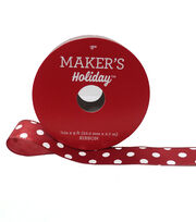 Maker's Holiday Christmas Ribbon 7/8''x9'-White Dot on Red, , hi-res
