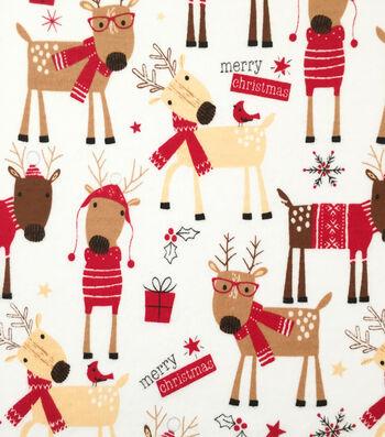 "Doodles Christmas Interlock Cotton Fabric 57""-Merry Christmas Raindeer"