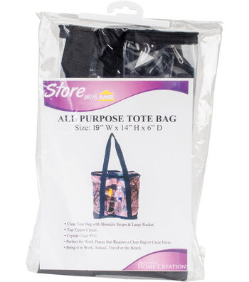 "All-Purpose Clear Tote Bag 19""X14""X6""-Black"