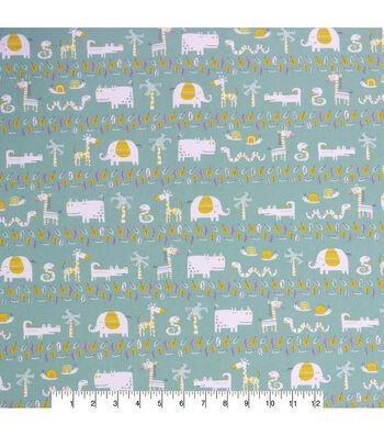 Nursery Cotton Fabric 44''-Hayden Jungle Friends