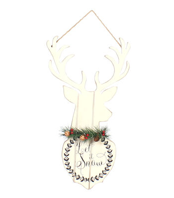 Maker's Holiday Christmas Stag Head Wall Decor-Let It Snow
