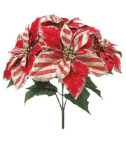 Blooming Holiday Christmas 20'' Poinsettia Spray-Red & Beige, , hi-res