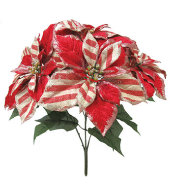 Blooming Holiday Christmas 20'' Poinsettia Spray-Red & Beige