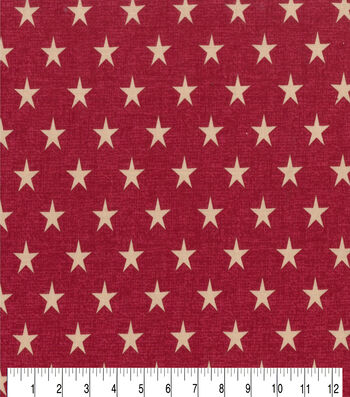 Patriotic Cotton Fabric 43''-Rustic Stars on Red