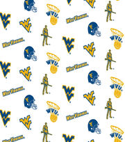 "West Virginia University Mountaineers Cotton Fabric 44""-White All Over, , hi-res"