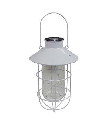 Americana Patriotic Solar Hanging Lantern-White