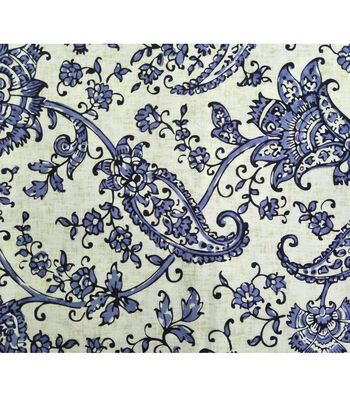 Amaretto Linen Fabric 57''-Blue Floral on White