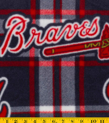 "Atlanta Braves Fleece Fabric 58""-Plaid"