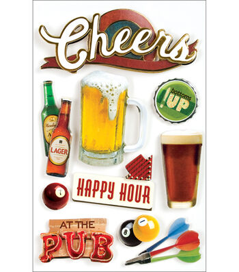Paper House Beer 3-D Stickers-Cheers