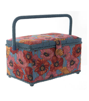 Large Rectangle Sewing Basket-Red Poppy